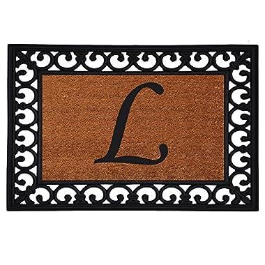 Home & More 180041925L Inserted Doormat, 19  X 25  x 0.60 , Monogrammed Letter L, Natural/Black