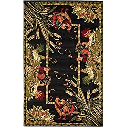 Unique Loom Barnyard Collection French Country Cottage Roosters Black Area Rug (3' x 5')