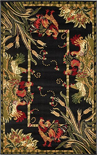 Unique Loom Barnyard Collection French Country Cottage Roosters Black Area Rug (3' x ()
