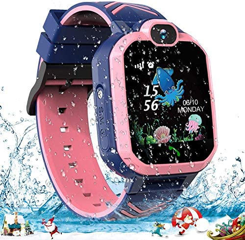 Smart Watch for Kids, Waterproof GPS Tracker Kids Smartwatch Phone with Two-Way-Calling, SOS, Voice Chat, Camera, HD Touch Screen, Games, Birthday Gifts Toys for 4-12 Years Old Boys and Girls (Pink)
