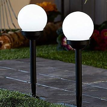 Cossll498 2 Piezas De Bola Redonda LED De Jardín De Energía Solar Luz Exterior Césped Patio Camino Lámpara: Amazon.es: Electrónica