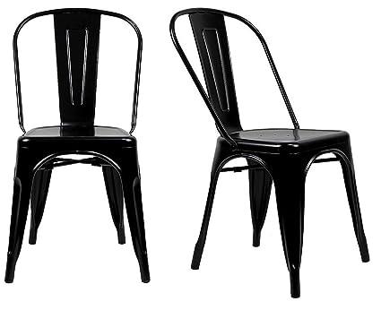 Fine Steampunk Tolix Replica Metal Dining Chairs Set Of 2 Black Machost Co Dining Chair Design Ideas Machostcouk