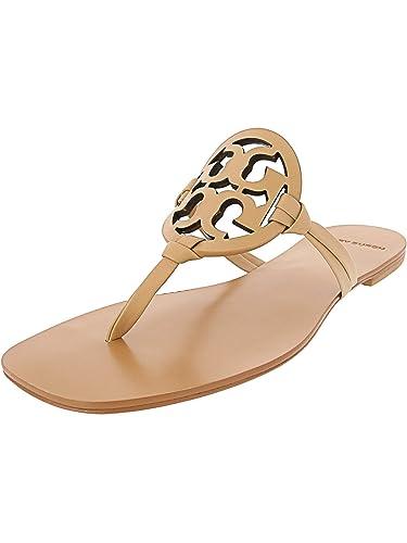 8d8aea1b216 Tory Burch Flip Flop Miller Square Toe Flat Sandal Leather (7, Natural  Vachetta 267