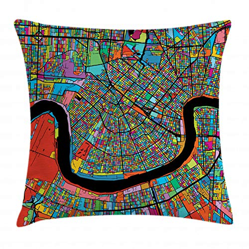 Ambesonne New Orleans Throw Pillow Cushion Cover, Colorful Map of City with Mississippi River Districts and Highways New Orleans, Decorative Square Accent Pillow Case, 40 X 40 Inches, -