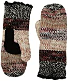 Isotoner Women's Chunky Cable Knit Sherpasoft Mittens, black stripe One Size