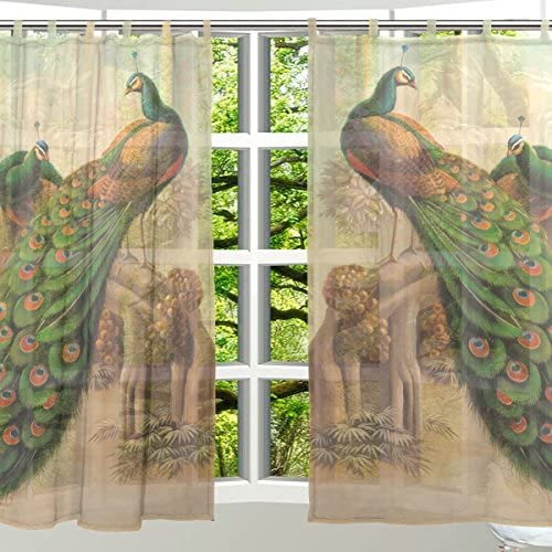 ALAZA 2 PCS Ultra Luxurious Window Decoration Sheer Curtain Panels,Art Vintage Peacock,Polyester Window Gauze Curtains Living Room Bedroom Kid's Office Window Tie Top Curtain 55×78 inch Two Panels Set