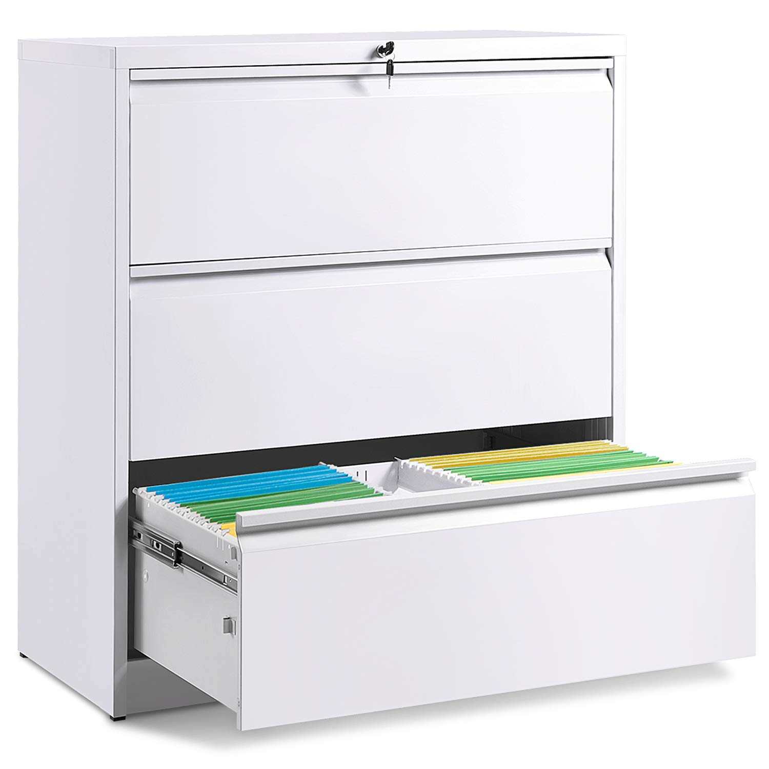 3 Drawers White Lateral File Cabinet with Lock, Lockable Heavy Duty Filing Cabinet, Steel Construction by Modern Luxe