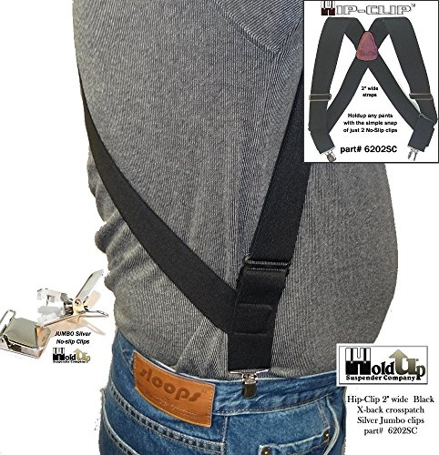 "Holdup Hip-clip 2"" Wide Trucker Style Suspenders with Patented No-slip® Clips"