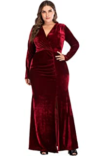 a2091cd9a9 ESPRLIA Women s Plus Size High Waist Velvet Sexy Faux Wrap Pencil ...