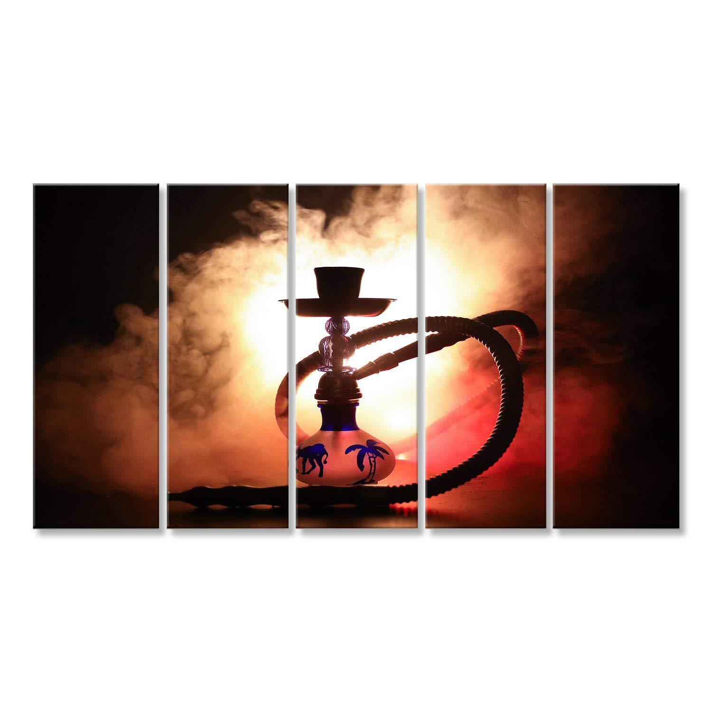 Islandburner Bild Bilder auf Leinwand Heiße Kohlen der Huka auf Shisha Schüssel mit schwarzem Hintergrund. Stilvolle orientalische Shisha. Wandbild, Poster, Leinwandbild JRR