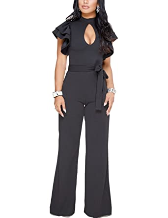 967d44fe7ed Vilover Women s Sexy V Neck Ruffle Casual Bodycon Long Pants Jumpsuit Romper  (S
