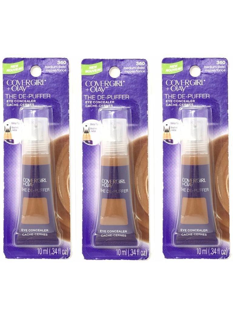 Set 3 CoverGirl + Olay Medium/Deep 360 The De-Puffer Eye Concealer Tube - 046200012306