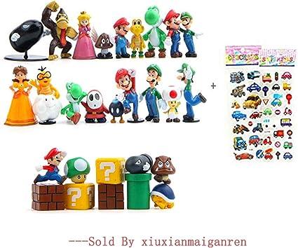 "Set of 2 pcs New Super Mario Brothers Mario Luigi Action Figures figurines 5/"""