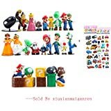 28 Piece Super Mario Bros Super Mary Princess, Turtle, Mushroom, Orangutan, Super Mario Action Figures, 2""