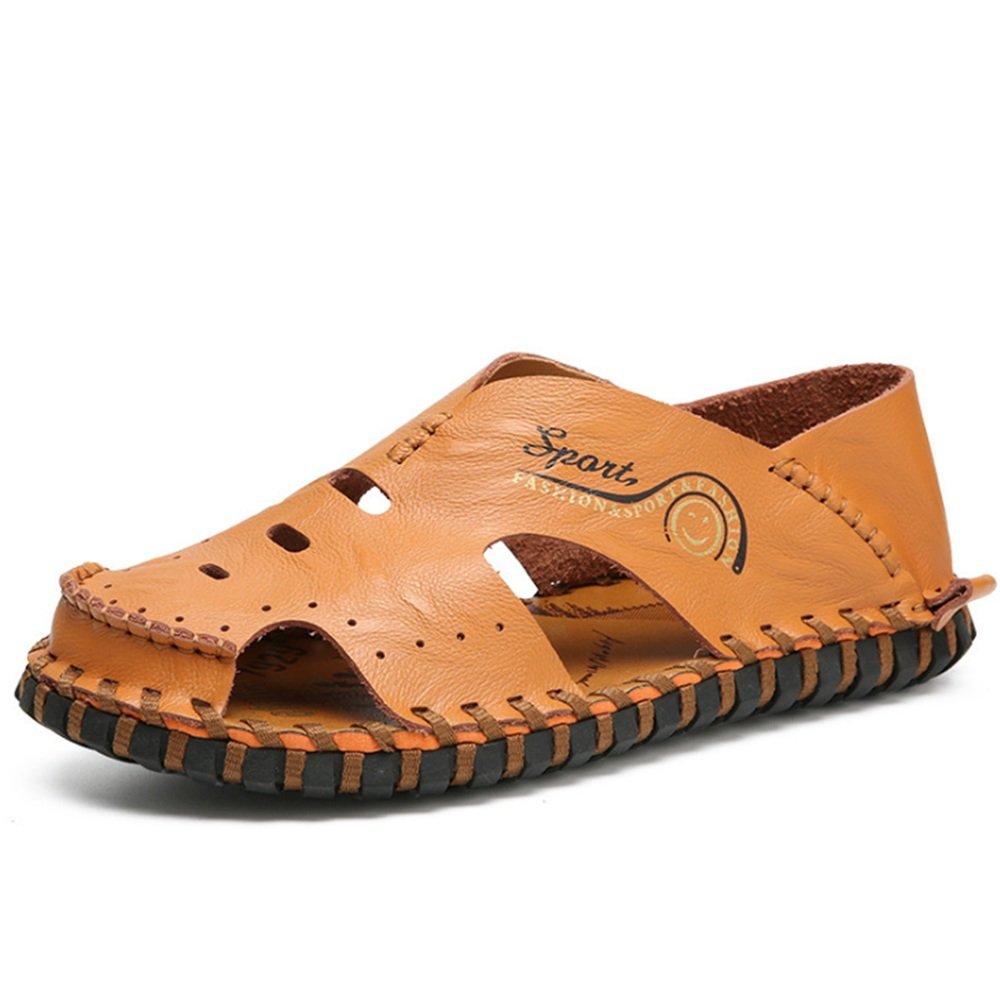 Sandale Männer Outdoor Sport Rindsleder Hohl Breath schwarz Sandalen (Farbe : Schwarz, Größe : 42 2/3 EU) Braun