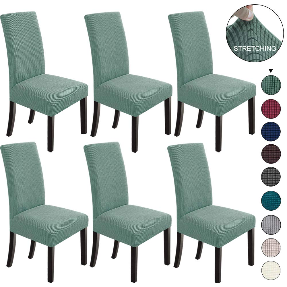 NORTHERN BROTHERS Dining Chair Covers Stretch Chair Covers Parsons Chair Slipcover Chair Covers for Dining Room Set of 6,Dark Cyan