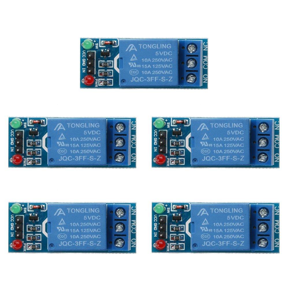 DOMYBEST Module de Commutation de Relais DC 5V 1 canaux pour Arduino Raspberry Pi ARM AVR