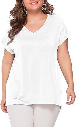 BeLuring Camiseta de Gran Tamaño para Mujer Tallas Grandes Tops Camiseta de Manga Corta con Cuello en V Blusa Camiseta Informal: Amazon.es: Ropa y accesorios
