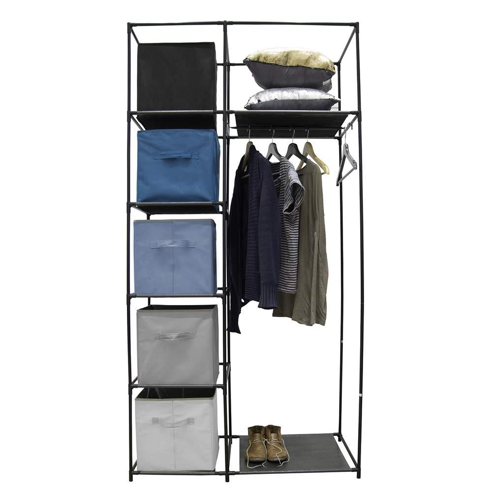 Idebox rg6202/Estructura Armario Cinco Cases y una Perchero Talla /única Negro Metal