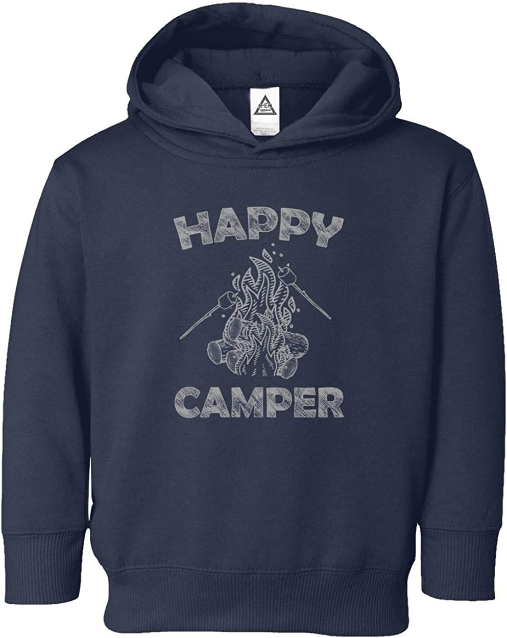 Happy Camper Cool Camping Vintage Funny Retro Design Little Kids Pullover Hoodie Toddler Sweatshirt