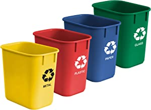 Acrimet Wastebasket Bin for Recycling 13QT (Made of Plastic) (Metal/Yellow, Paper/Blue, Glass/Green, Plastic/Red) (Set of 4)