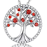 Kyпить Birthday Valentines Day Anniversary Gifts for Women Family Daughter Garnet Necklace January Birthstone Pendant Jewelry The Tree of Life Sterling Silver на Amazon.com