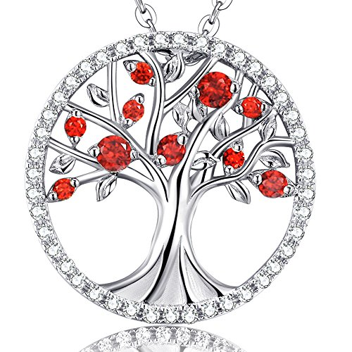 July Birthstone LC Ruby Necklace Tree of Life Jewelry Birthday Anniversary Gifts for Women Mom Wife Family