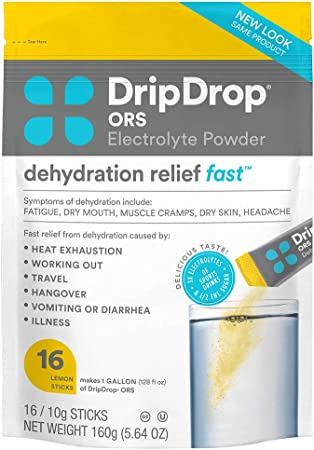 DripDrop ORS - Patented Electrolyte Powder For Dehydration Relief Fast - For Workout, Sweating, Illness, & Travel Recovery - Lemon - 16 x 8oz Servings