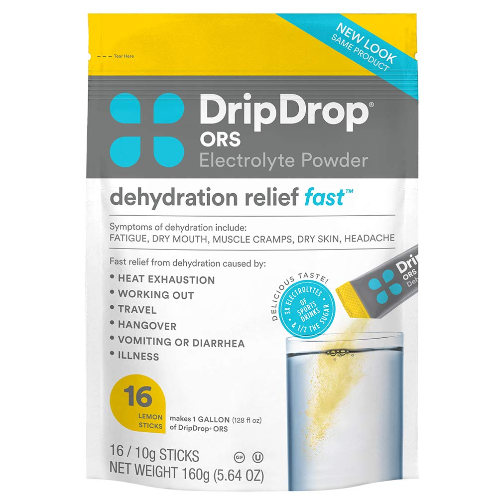DripDrop ORS – Patented Electrolyte Powder for Dehydration Relief Fast - For Workout, Hangover, Illness, Sweating & Travel Recovery - Lemon - 16 x 8oz Servings