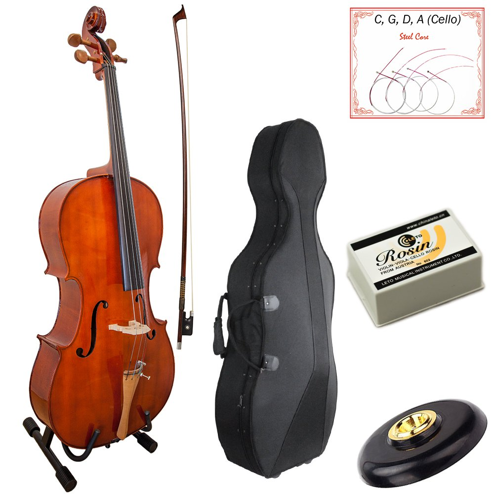 Paititi PTTCE101 4/4 Size Solid Wood Beginner Cello Kit with Durable Hard Case, Bow and Rosin