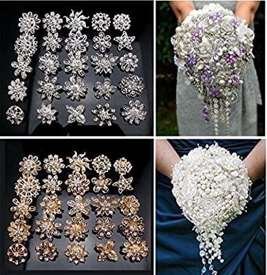 L'vow Rhinestone Crystals Brooches Collar Pin Bouquet Kit Pack of 24