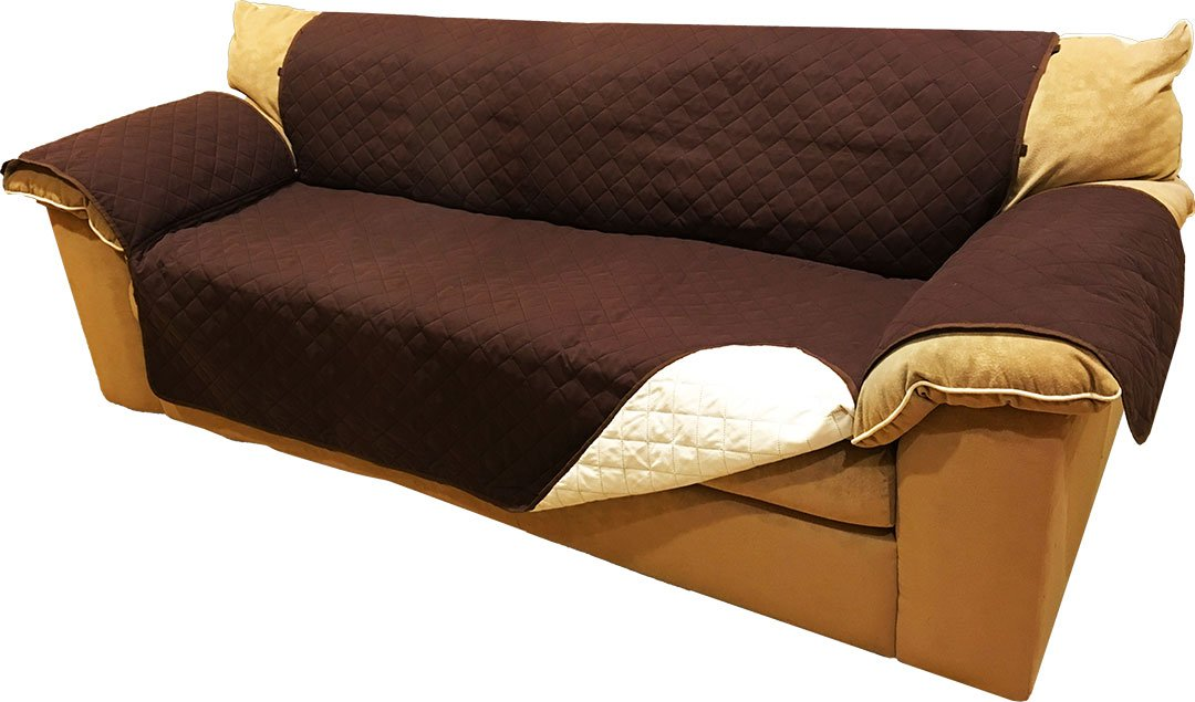 Reversible Microfiber Sofa Cover Throw Furniture Protector For Pets Kids With Hold Down Elastic Straps (Sofa, Chocolate & Beige) by ABLEHOME