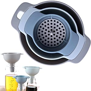 Kitchen Funnel Set - Nested Funnels with Handle - 3 Pack Food Grade Plastic Funnels with Detachable Strainer Filter for Transferring of Liquid, Fluid, Dry Ingredients and Powder