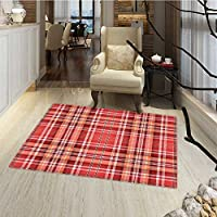 Checkered Door Mat outside Red Pink Orange Checkered Pattern with White Lines Cells Graphic Door Mats for inside Non Slip Backing 24x36 Dark Coral Orange White