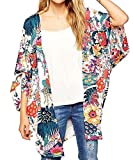Relipop Women's Sheer Chiffon Blouse Loose Tops Kimono Floral Print Cardigan (XXX-Large, colorful)