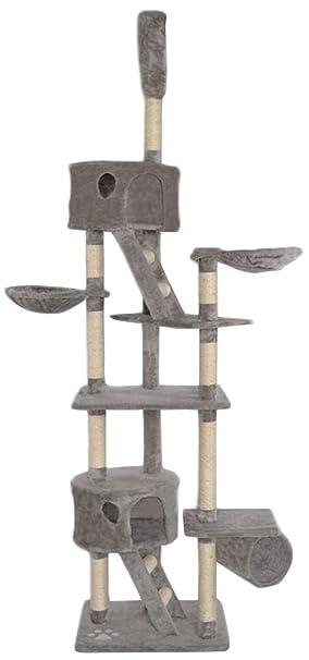 Dibea KB00407 Árbol Rascador Escalador para Gatos, 240-260 cm, Altura Ajustable del Techo Gris Claro: Amazon.es: Productos para mascotas