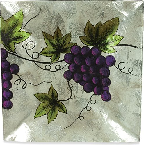 AngelStar 19103 Vineyard Grape Square Plate, 12-Inch
