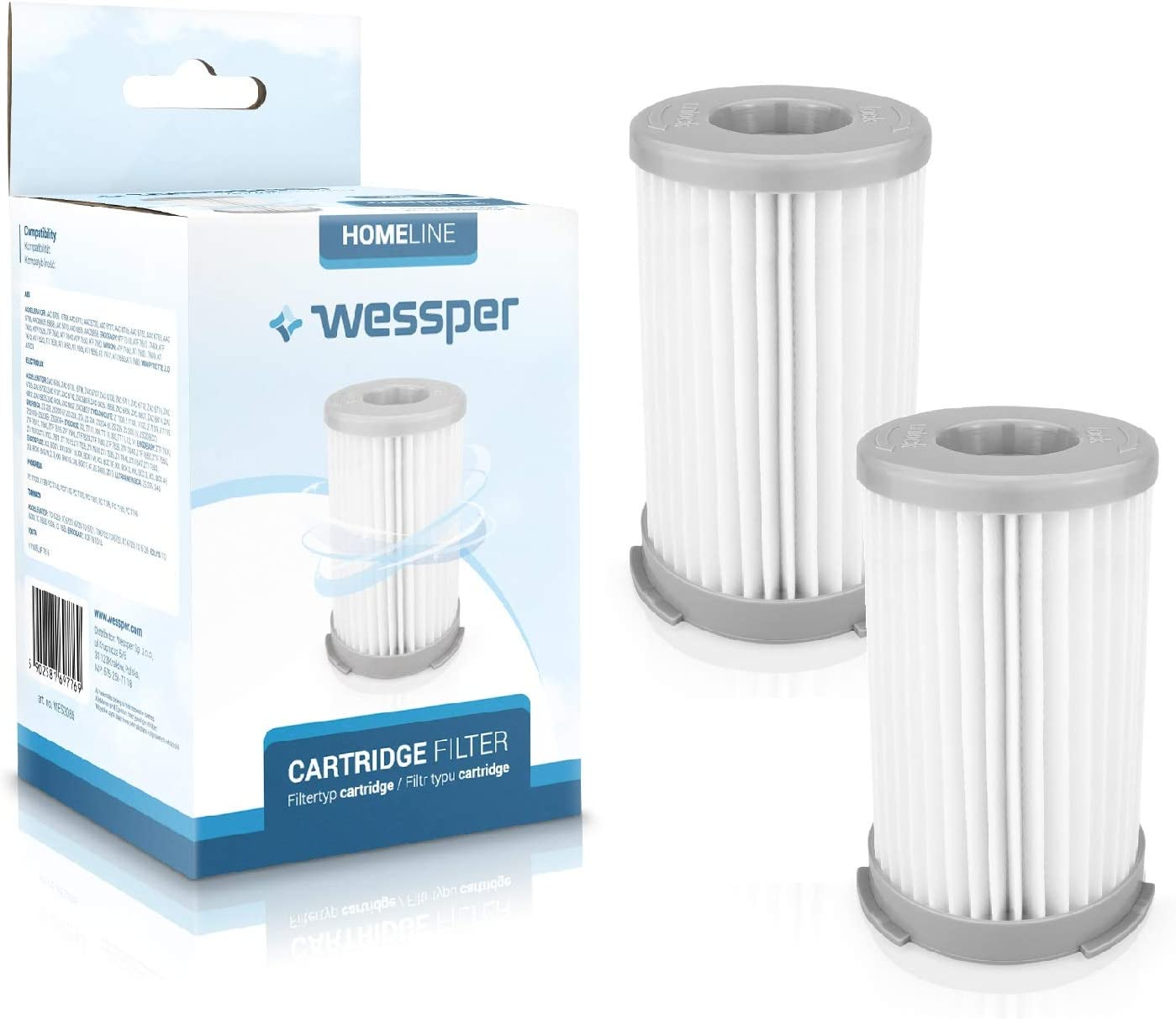 Wessper 2X Cyclone Filtro HEPA EF75B UF71B para Electrolux Ergospace ZE2410 para aspiradora: Amazon.es: Hogar