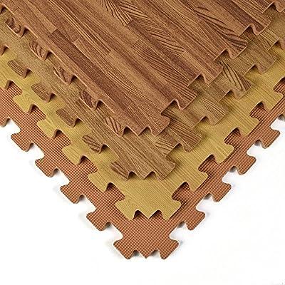 Greatmats Wood Grain Reversible Wood/Tan Foam Floor Tiles 24 x 24 x 1/2 inch, 25 Pack
