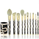 Coshine 10pcs 3D Unique Gold Snake Totem Series Makeup Brushes Set Professional Makeup Artist Tools with Cosmetic Brush Holder Case