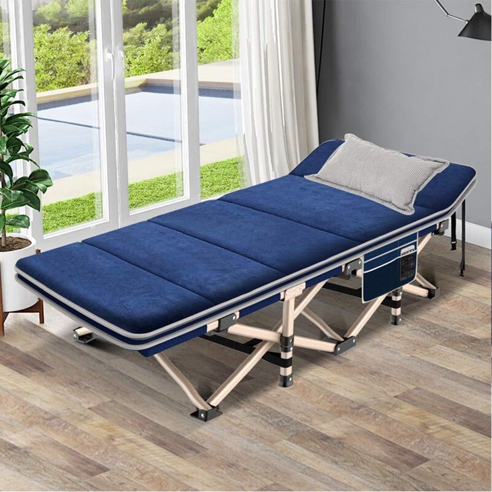 MISHUAI Klappbett, Folding Camping Cot Ten Foot Bett Büro Nap-Bett mit Auflage for Innen Büro Balkon Terrasse Garten Strand Außen Einfache Stapelung und Lagerung (Farbe : Blau, Größe : 193X62X29CM)