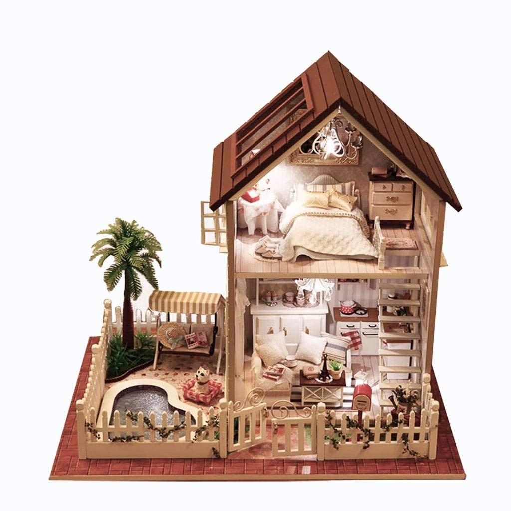 Rylai 3d puzzles wooden handmade miniature dollhouse diy kit w light paris apartment series dollhouses accessories dolls houses with furniture led