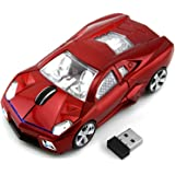 CHUYI Cool Sport Car Shape 2.4Ghz Wireless Mouse 3 Button 1600DPI High Tracking Speed Optical Mouse Gaming Mice USB Receiver for PC Laptop Computer (Red)