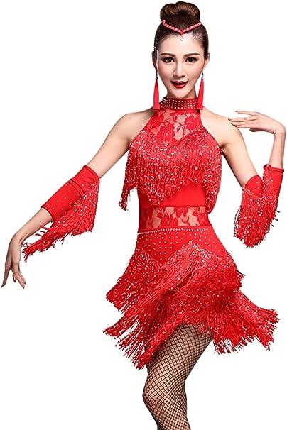 Amazon.com: ZX - Vestido de baile latino con borla y ...