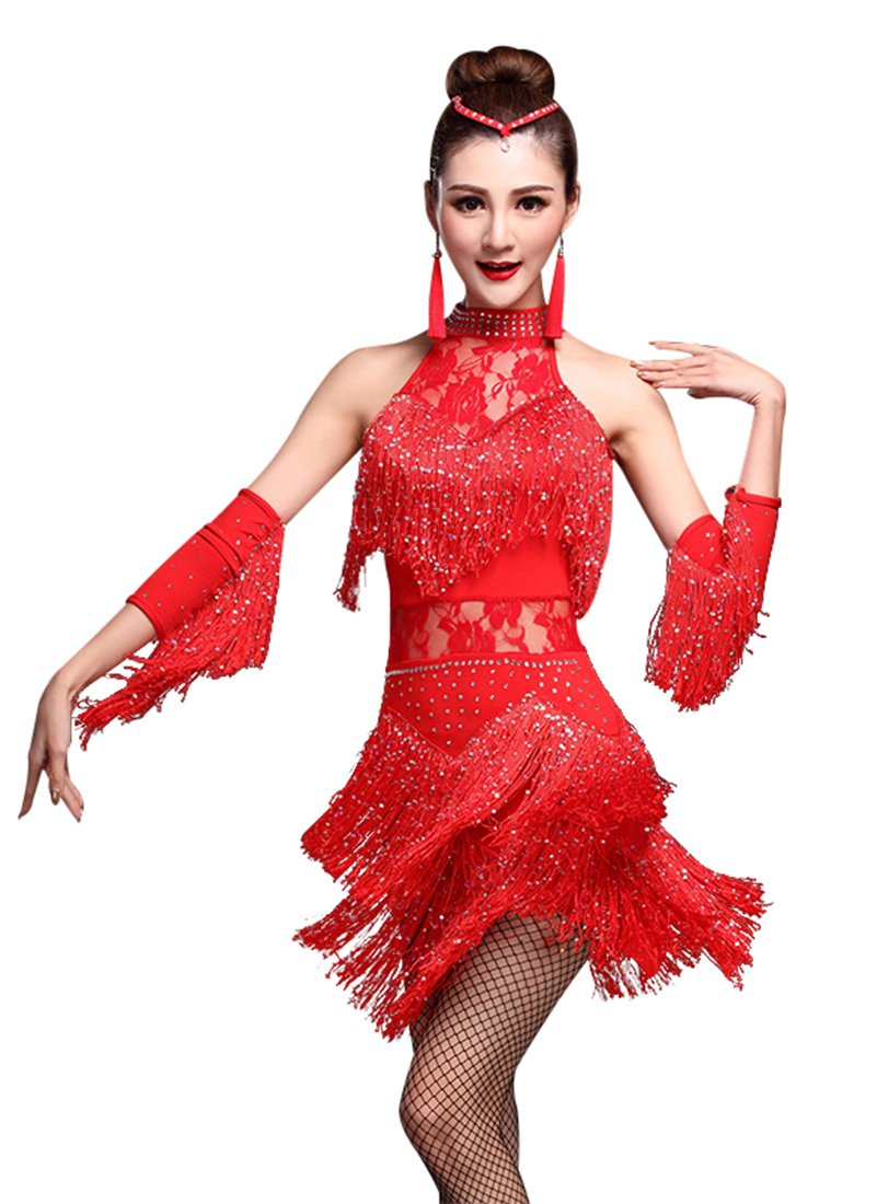 Z&X Women's Rhinestone Tassel Flapper Latin Rumba Dance Dress 4 Pieces Outfits X-Large Red by ZX