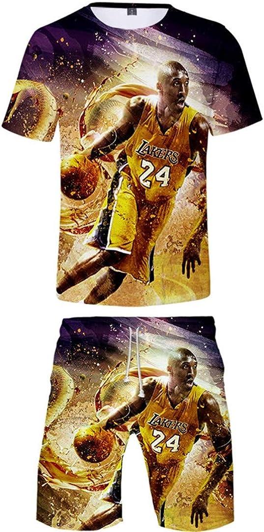 Silver Basic Camiseta con Estampado 3D de Baloncesto para Hombre Ropa de Baloncesto Top y Pantalones Cortos de Manga Corta Camisa Casual de Verano