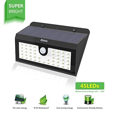 [45 LEDs] Solar lámpara inalámbrico Detector de movimiento 3 Modos inteligentes / Panel solar