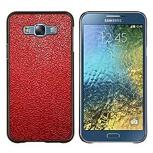 KLONGSHOP // Cubierta de piel con cierre a presión Shell trasero duro de goma Protección Caso - Patrón de cuero rojo - Samsung Galaxy E7 E700 //