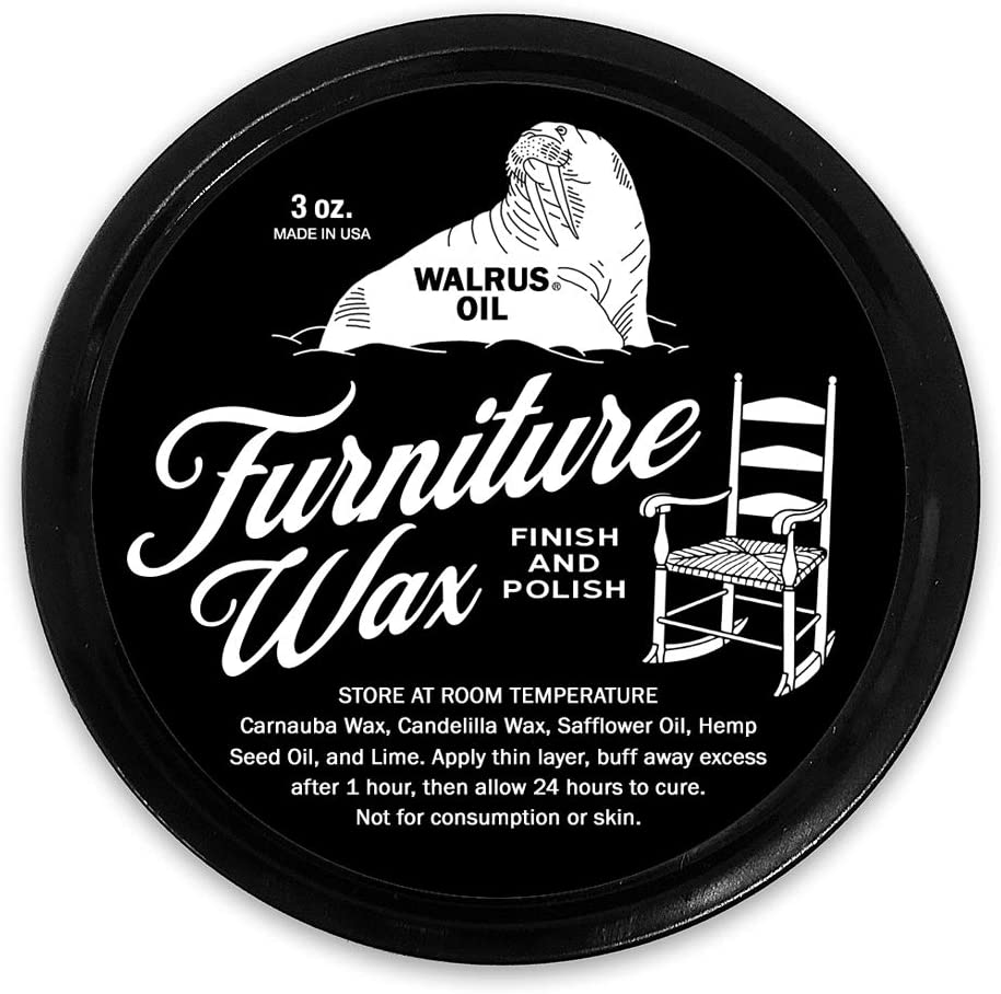 WALRUS OIL - Furniture Wax Finish and Wood Polish - for Hardwood Tables, Chairs, and More. 100% Vegan, 3oz