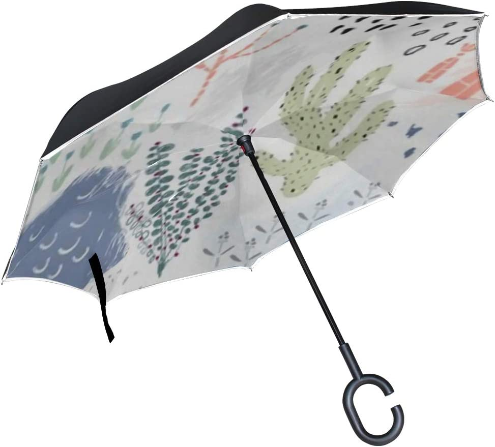 Double Layer Inverted Inverted Umbrella Is Light And Sturdy Creative Universal Artistic Floral Background Hand Reverse Umbrella And Windproof Umbrell